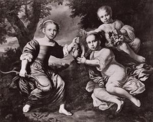 Groepsportret van drie kinderen, genaamd kinderen uit de familie Sloet