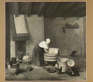 Interieur met vrouw bij een wastobbe