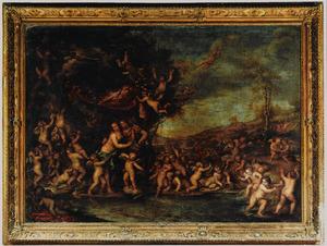 Mars en Venus als minnaars temidden van een bacchanaal van putti