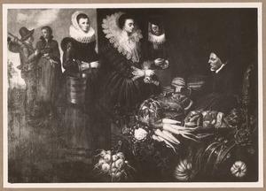 Marktscène met een dame die een meloen koopt