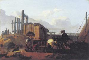 Landschap met drinkende paarden aan de rand van een rivier