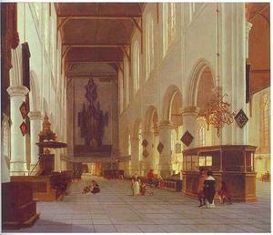 Interieur van de Oude Kerk in Delft