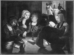 Bordeelscène met kaartspelers