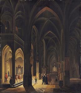 Interieur van een gotische kerk bij kaarlicht