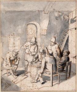 Drinkende en rokende figuren in een interieur
