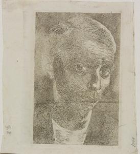 Zelfportret, driekwart naar rechts, met snorretje