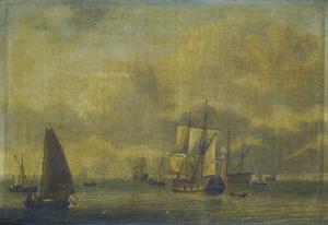 Zeegezicht met fregat en andere zeilschepen op kalme zee