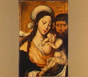 De Heilige Familie met het Christuskind slapend tegen de borst van Maria