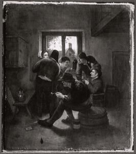 Rokende en drinkende boeren met een vrouw in een gelagkamer