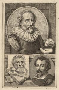 Portretten van Abraham Bloemaert (1566-1651), Adam van Noort (1562-1641) en Adam Elsheimer (1578-1610)