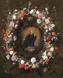 Bloemenkrans om een cartouche met Madonna en putti