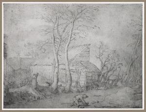 Winterlandschap met houten schuur en schaatser