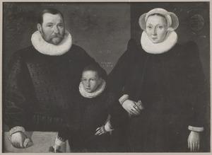 Portret van  Jan Janssen de Visscher de oude (....-1604), Aelken Jansdr. (....1604) en Jan Jansz. de Visscher de jonge (1582-1604)