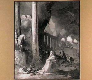 Grotinterieur met antieke ruïnes, een borstbeeld en een ruiterstandbeeld; in de verte een oosterling met zijn paard