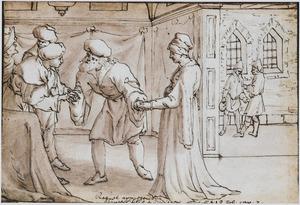 Raguel geeft zijn dochter Sara ten huwelijk aan Tobias (Tobit 7)