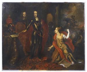 Dubbelportret van pins Willem III van Nassau (1650-1702) en Hans Willem Bentinck (1649-1709), met een bediende