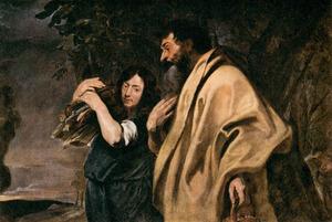 Abraham en Isaak op weg naar de offerplaats in het land Moria (Genesis 22:6)
