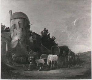 Landschap met postwagen bij wisselplaats