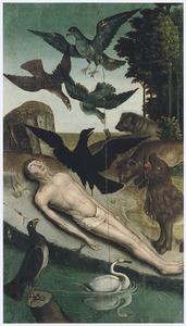 Het dode lichaam van de H. Vincent van Zaragoza wordt door een raaf tegen de wilde dieren beschermd