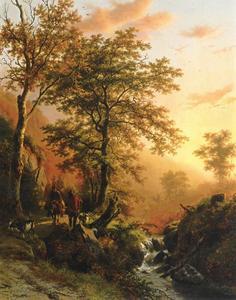 Berglandschap met reiziger en herder