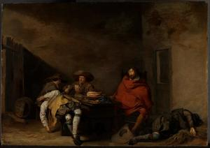 Slapende en kaartspelende soldaten in een wachtlokaal