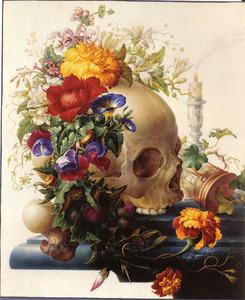 Vanitas-stilleven met bloemenkrans, schedel en zandloper