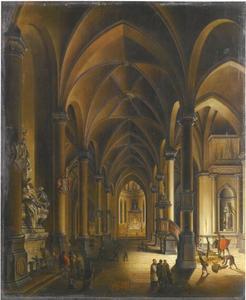 Kerkinterieur bij nacht