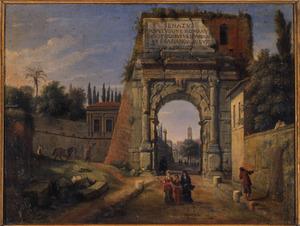 Gezicht op de Boog van Titus in Rome