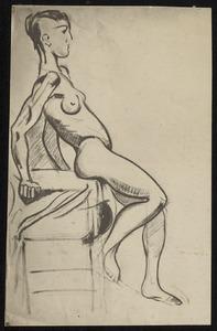 Vrouwelijk naakt op een stoel