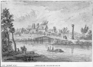 Rivierlandschap met dorp en brug