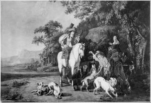 Landschap met halthoudende jagers