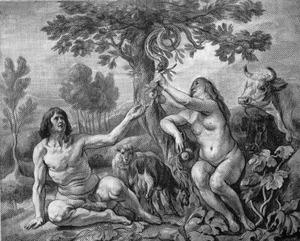 De Zondeval: De slang geeft Eva de appel, Eva biedt Adam het fruit aan (Genesis 3:6)