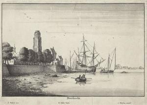 Gezicht op Dordrecht met de Grote Kerk vanaf het water