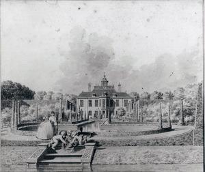 Gezicht op de achterzijde van het huis Spieringshoek bij Schiedam