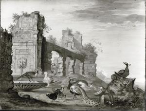 Landschap met vogels bij een fontijn voor een Romeinse Ruïne