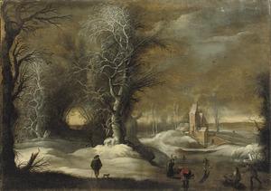 Winterlandschap met schaatsers en slee, op de achtergrond bebouwing