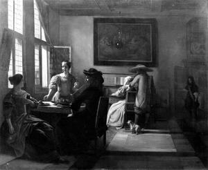 Elegant gezelschap met een vrouw aan een virginaal in een voornaam interieur