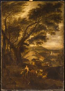 Landschap met herderin en vee, een stad in de achtergrond