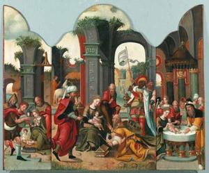 Drieluik met de aanbidding der herders (links); de aanbidding der koningen (midden); de besnijdenis (rechts)