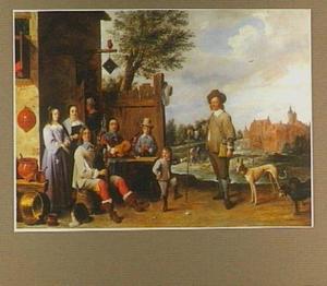 Portret van een musicerende familie voor een herberg, met op de achtergrond twee jagers met honden en een kasteel
