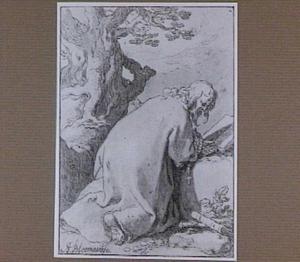 H. Nathaniel biddend bij een groote boom