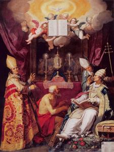 De vier Latijnse Kerkvaders verheerlijken de Eucharistie