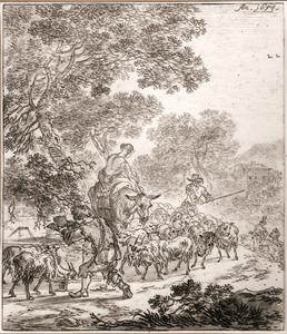 Landschap met herder en herderin met kudde schapen