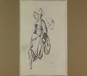 Studie van een vrouw in Engels kostuum