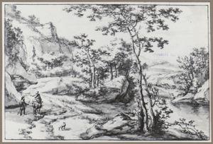 Berglandschap met twee figuren in gesprek