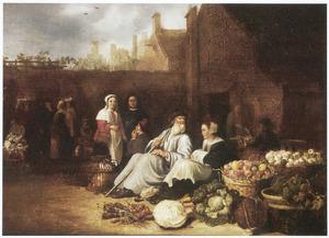 Markt op een binnenplaats in een stad