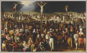 De kruisiging van Christus en de twee moordenaars op Golgotha