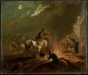 Door de maan beschenen landschap met ruiters en omstanders bij een vuur