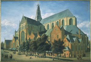 Gezicht op de St. Bavo in Haarlem