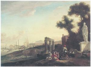 Zuidelijk landschap met rustende herders bij een klassieke ruïne